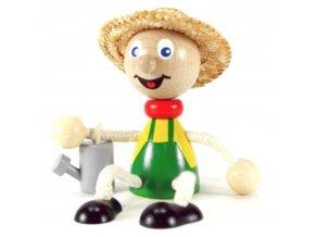 Sedací figurka hračka ze dřeva - Zahradník