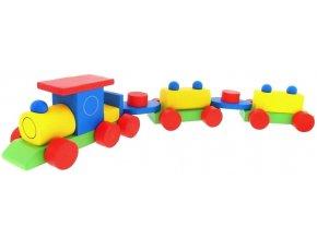 Vlak - 2 vagony barevný hračka ze dřeva Tom