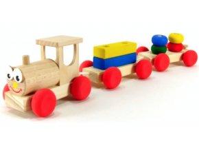 Veselý vláček 2 vagony hračka ze dřeva