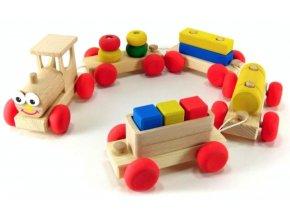 Veselý vláček 4 vagony hračka ze dřeva