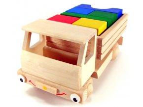 Veselý náklaďák velký hračka ze dřeva