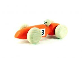 Závodní auto malé hračka ze dřeva - oranžové