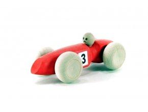 Závodní auto malé hračka ze dřeva - červené