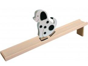 Chodící hračka ze dřeva - Pes barevný
