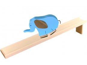 Chodící hračka ze dřeva - Slon barevný