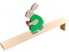 Chodící hračka ze dřeva - Zajíc barevný