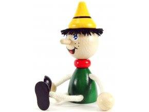 Sedací figurka hračka ze dřeva - Pinochio