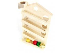 Tobogán domek hračka ze dřeva - natur