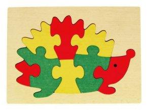 Puzzle na desce hračka ze dřeva - Ježek