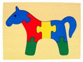 Puzzle na desce hračka ze dřeva - Koník