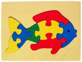 Puzzle na desce hračka ze dřeva - Rybka