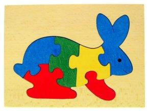 Puzzle na desce hračka ze dřeva - Zajíc