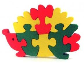 Puzzle hračka ze dřeva  - Ježek