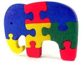 Puzzle hračka ze dřeva - Slon
