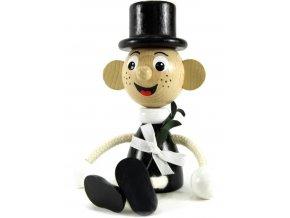 Sedací figurka hračka ze dřeva - Ženich