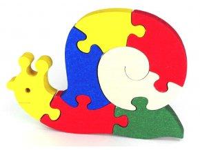 Puzzle hračka ze dřeva - Šnek