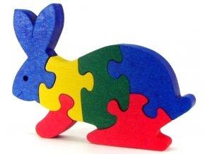 Puzzle hračka ze dřeva - Zajíc