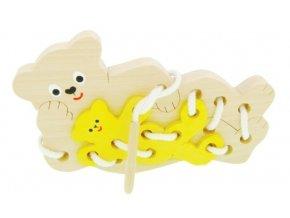 Provlékací hračka ze dřeva -  Medvídci