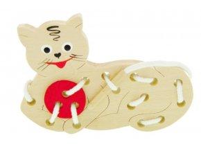 Provlékací hračka ze dřeva -  Kočka