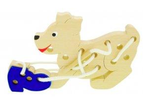 Provlékací hračka ze dřeva -  Pes