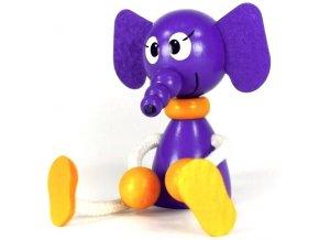 Sedací figurka hračka ze dřeva - Slon