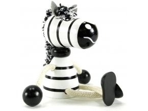 Sedací figurka hračka ze dřeva - Zebra