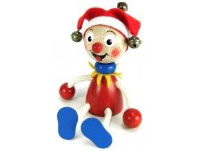 Sedací figurka hračka ze dřeva - Kašpárek