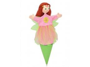 Velký kornoutový maňásek - Víla jarní - hračka z textilu