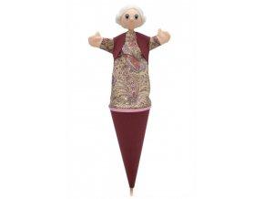 Velký kornoutový maňásek - Babička - hračka z textilu