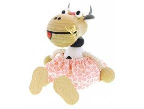 Sedací figurka hračka ze dřeva - Kráva oblečená