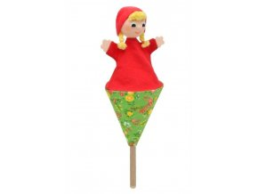 Malý kornoutový maňásek - Karkulka s copy - hračka z textilu