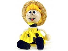 Sedací figurka hračka ze dřeva - Včelka oblečená