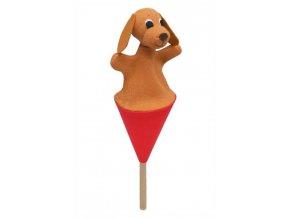 Malý kornoutový maňásek - Pejsek - hračka z textilu