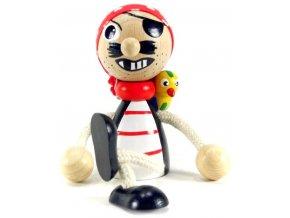 Sedací figurka hračka ze dřeva - Pirát s papouchem