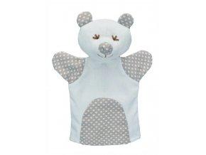Maňásek pro nejmenší - Medvěd srdíčka - hračka z textilu