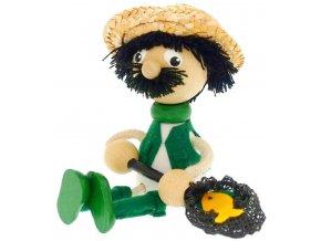 Sedací figurka hračka ze dřeva - Rybář