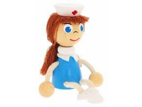 Sedací figurka hračka ze dřeva - Zdravotní sestra