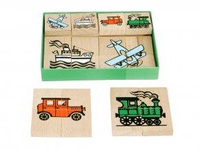 66016 dřevěné skládací puzzle dopravní stroje