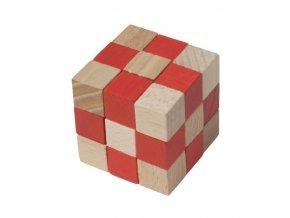 66023 dřevěný hlavolam kobra červená
