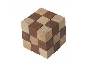 66027 dřevěný hlavolam kobra hnědý