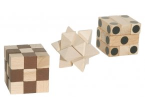 66039 dřevěná sada hlavolam IQ trio (2)