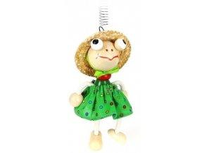 45036 (1) figurka na pruzine ze dreva zaba oblecena pro deti