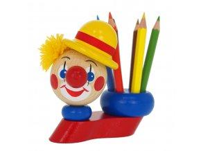 43035 dřevěný stojánek s pastelkami klaun (1)