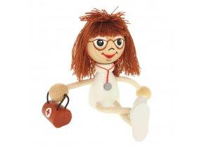 50168 dřevěná panenka figurka doktorka