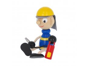 50169 dřevěný panáček figurka hasič požárník