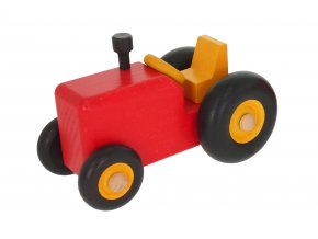 68132 dřevěný červený traktůrek hračka (1)
