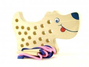 42202 dřevěné šití pes provlékadlo pro děti (1)