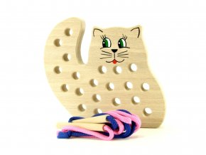 42203 dřevěné provlékadlo hračka kočka pro děti (3)