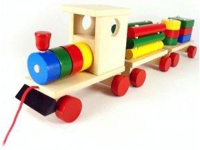 44033 (7) tahaci hracka ze dreva vlak 2 vagony sebastian pro deti