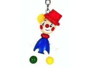 Figurka přívěšek ze dřeva - Klaun klobouk